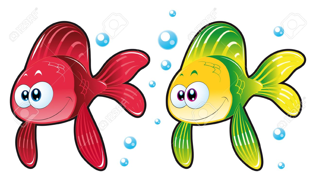 Two Fish. Funny Cartoon And Animal Characters. Royalty Free Cliparts ...