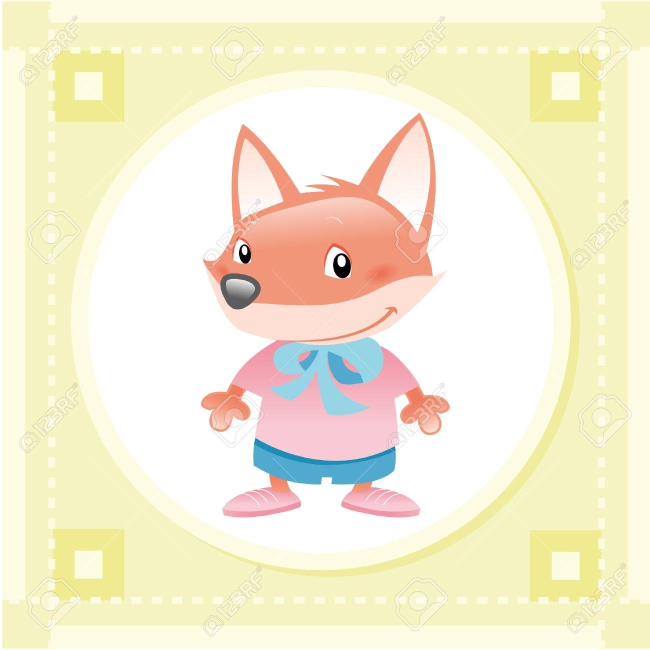 Baby Fox. Funny cartoon and vector animal character. Stock Vector - 5800266
