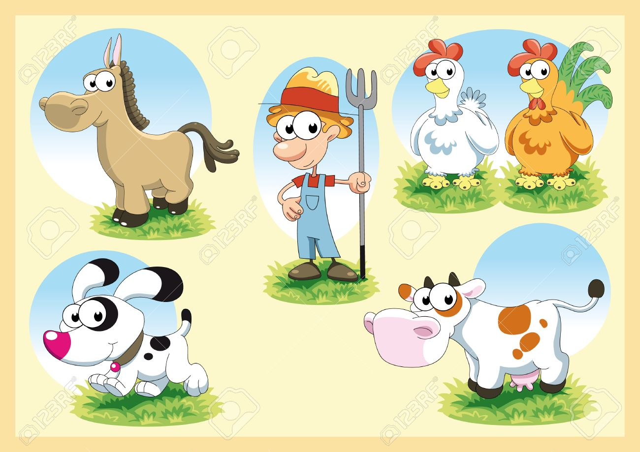 Farm Family. Cartoon and vector illustration Stock Vector - 5877606