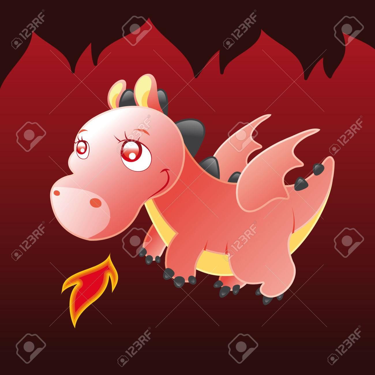 Little Dragon. Cartoon and vector illustration. Stock Vector - 5877597