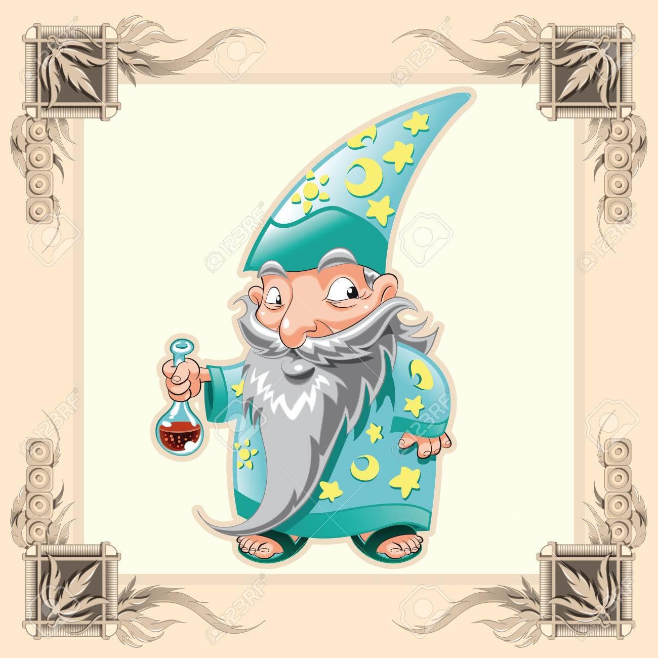 Funny Magician. Cartoon and vector illustration. Stock Vector - 5877632