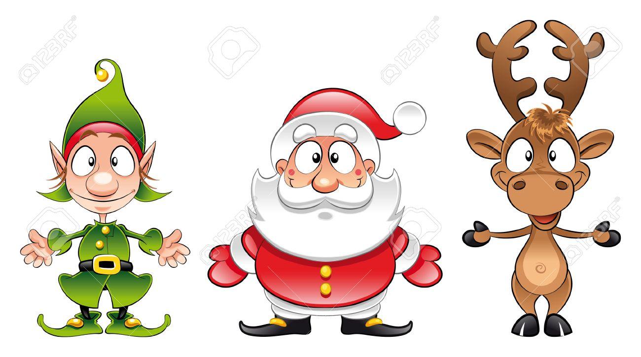 Uncategorized Santa And Rudolph santa claus elf rudolph cartoon and vector christmas characters stock 6010356