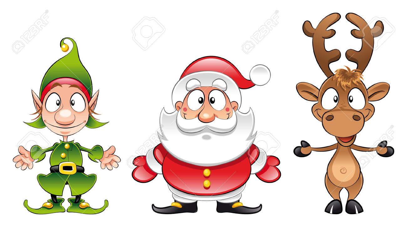 Santa claus, Elf, Rudolph. Cartoon and vector Christmas characters Stock Vector - 6010356