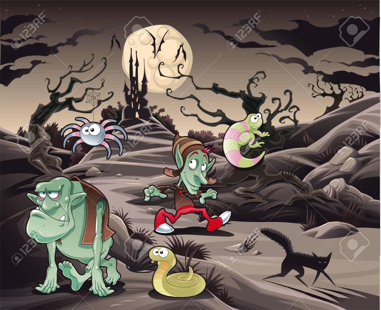 Horror landscape with characters. Cartoon and vector illustration. Stock Vector - 6113090