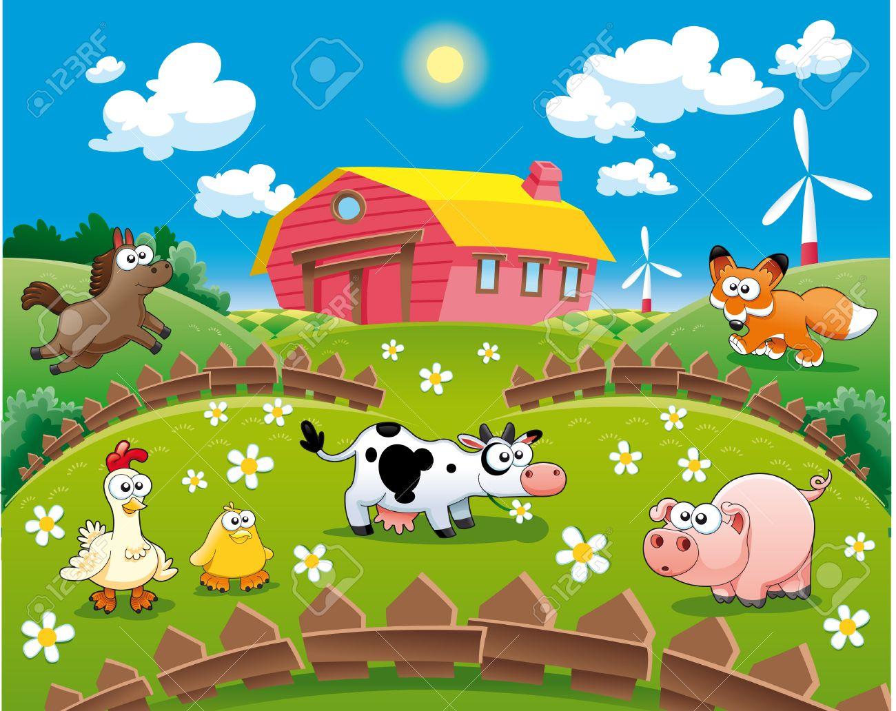 Farm illustration. Funny cartoon Stock Vector - 6156447