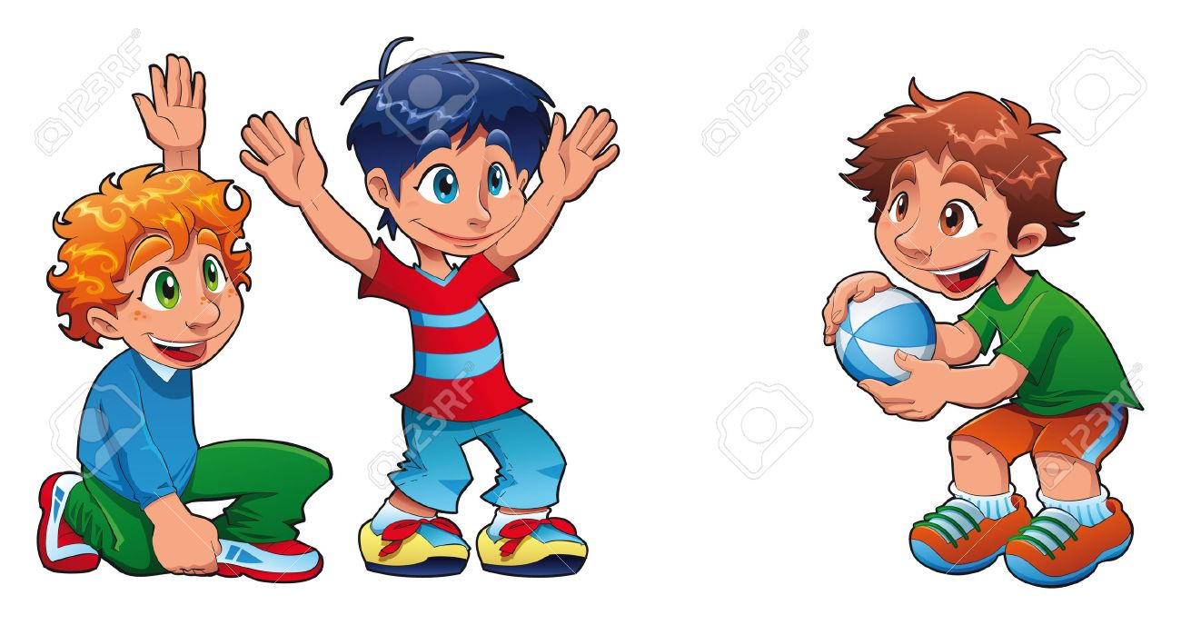 friends cartoon three kids are playing funny cartoon characters