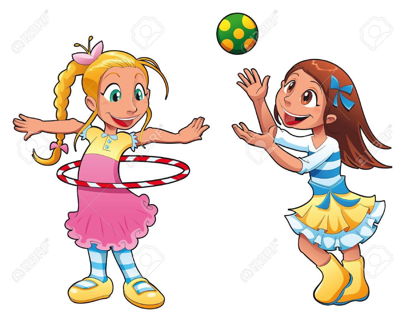 Dos Niñas Están Jugando Personajes De Dibujos Animados Divertido