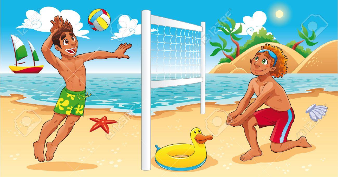 Beach Volley scene. Funny cartoon and sport illustration. Stock Vector - 6239104