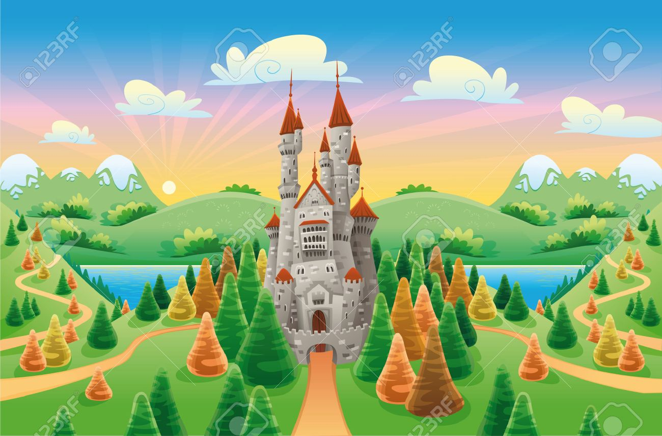 Panorama with medieval castle. Cartoon and illustration Stock Vector - 6292892
