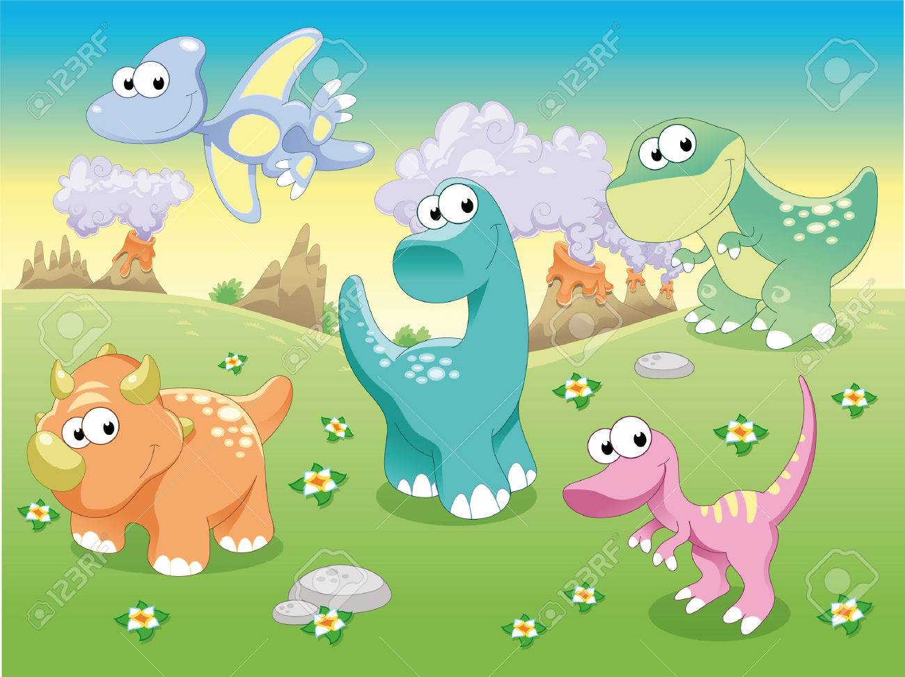 Dinosaurs Family with background. Stock Vector - 6474579