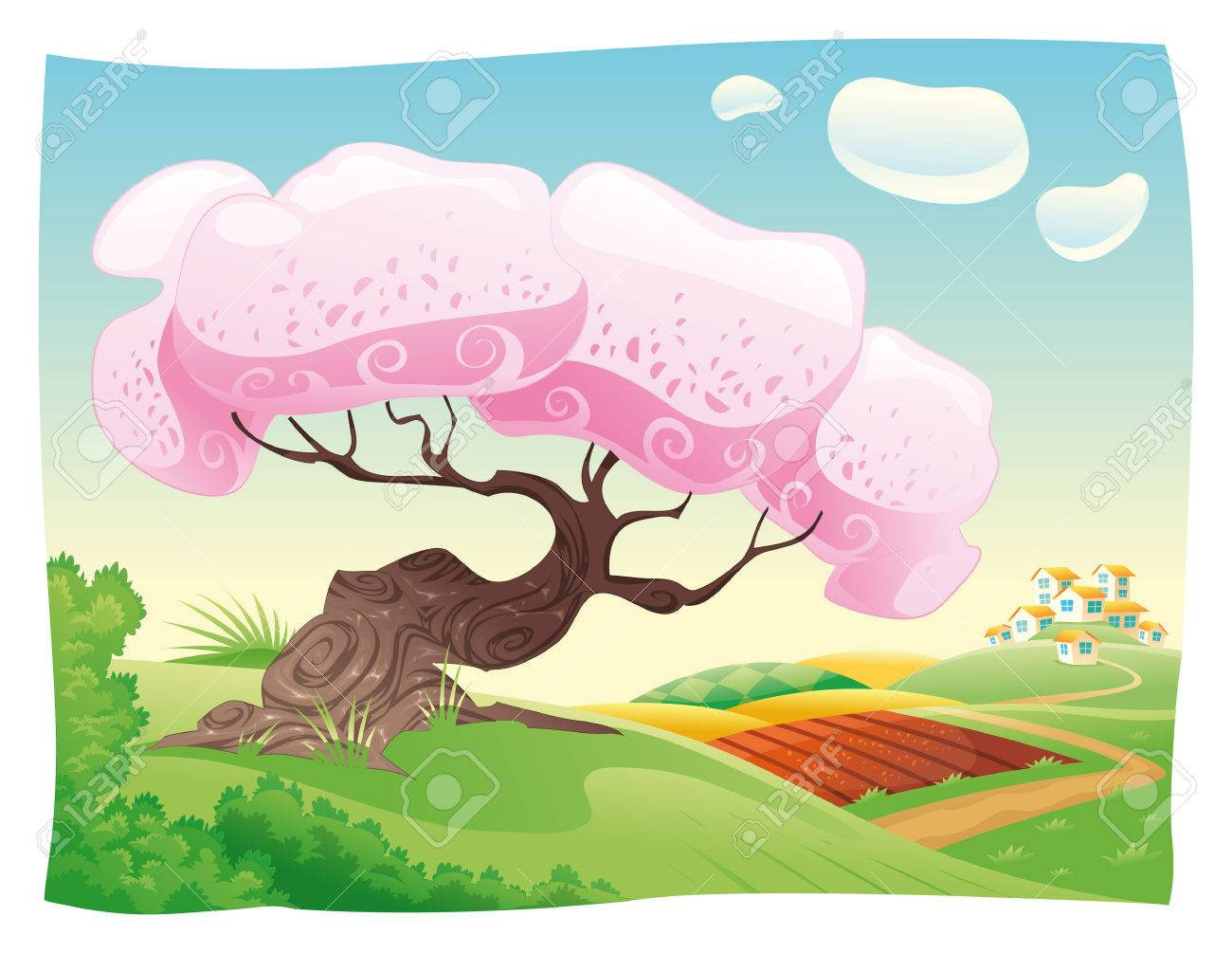 Countryside. cartoon landscape. Stock Vector - 6535884