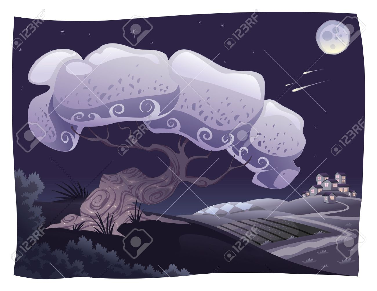 Countryside in the night. cartoon landscape. Objects isolated. Stock Vector - 6648064