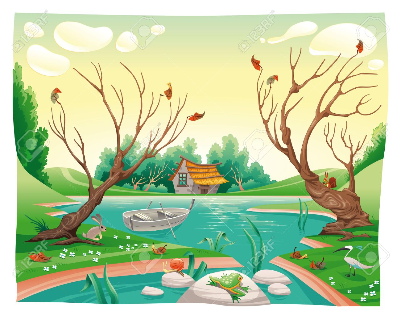 Pond and animals. Funny cartoon and vector illustration Stock Vector - 6746397