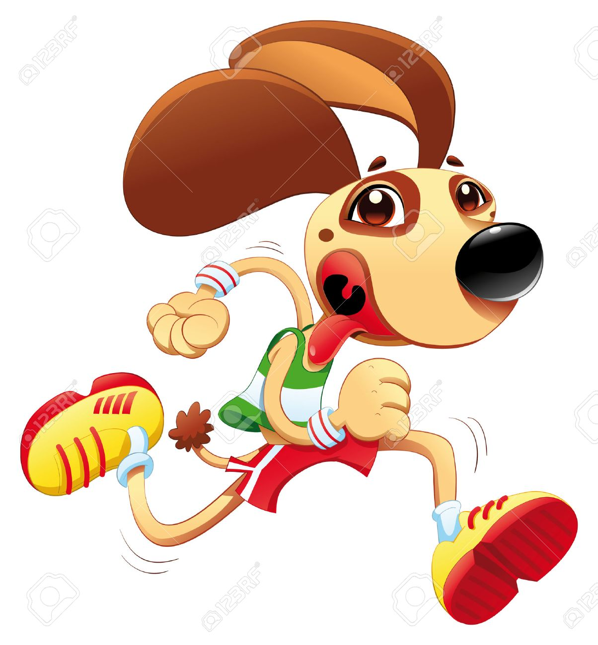 Funny dog is running. cartoon character. Object isolated Stock Vector - 7024611