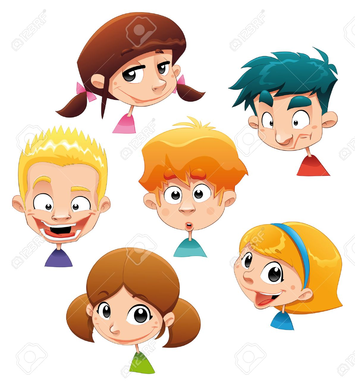 Set of different character expressions. Funny cartoon illustration. Isolated objects. Stock Vector - 7182471