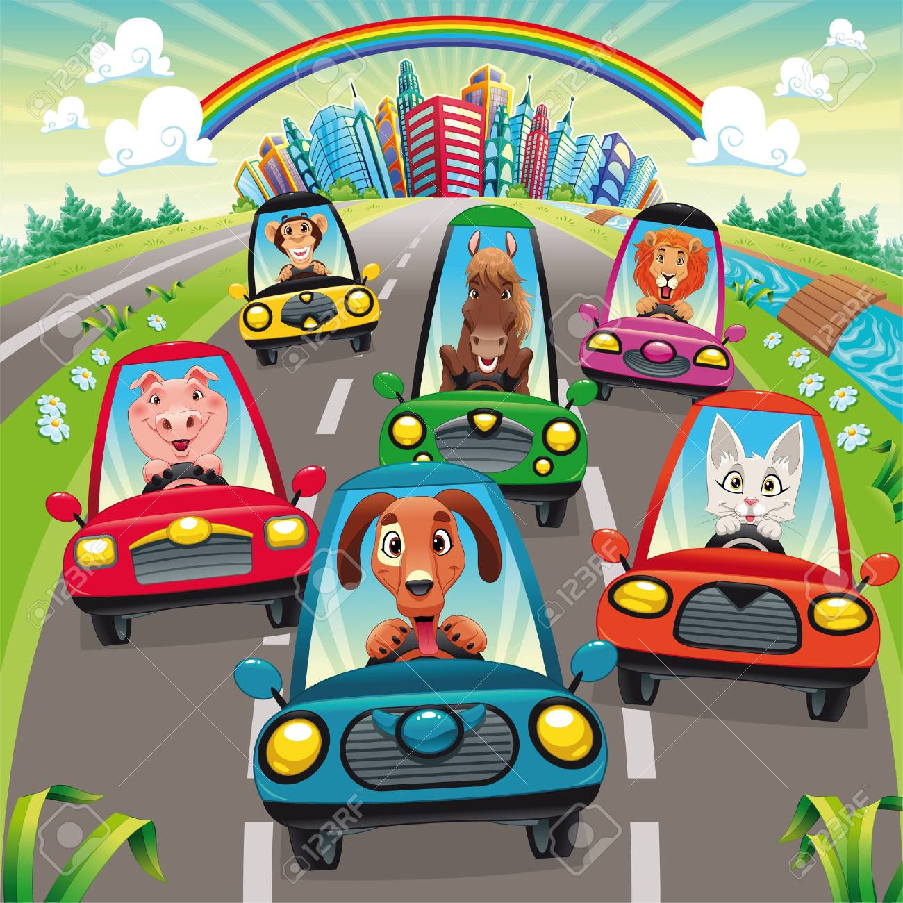 Traffic on the road. Funny cartoon and vector illustration, isolated objects. Stock Vector - 7610928