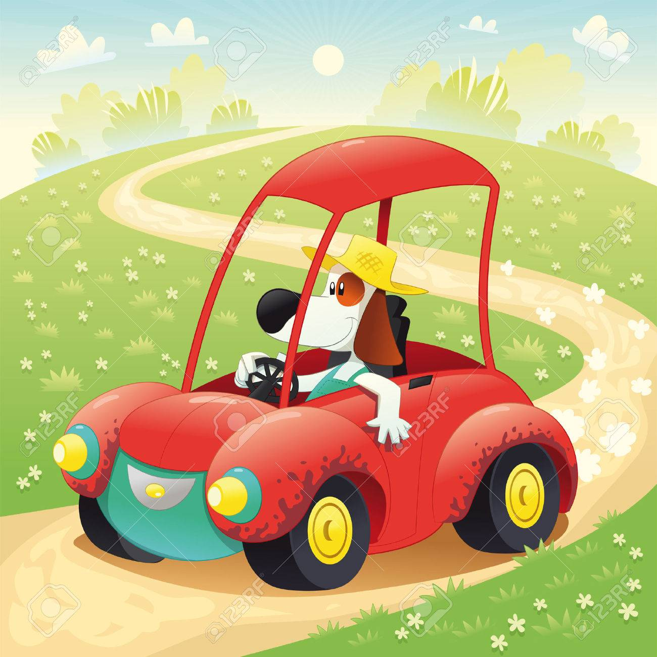 Funny dog on a car. Cartoon and  illustration, isolated objects Stock Vector - 8127446