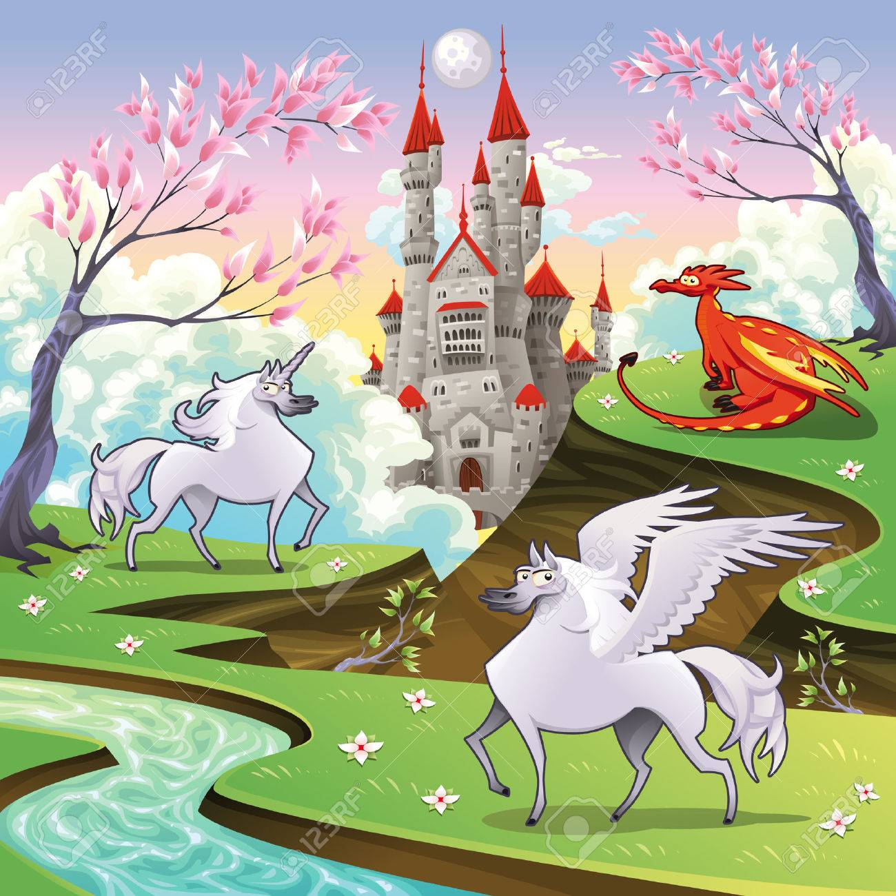 Pegasus, unicorn and dragon in a mythological landscape. Cartoon and vector illustration, objects isolated . Stock Vector - 8494640