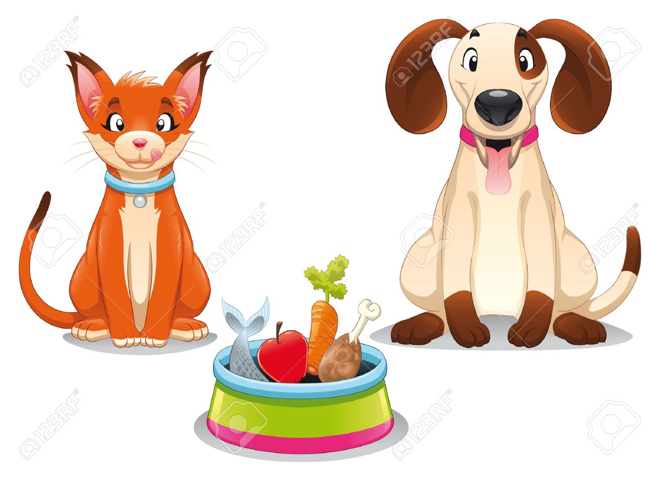 Cat and Dog with food. Funny cartoon and vector scene, isolated objects. Stock Vector - 8707856