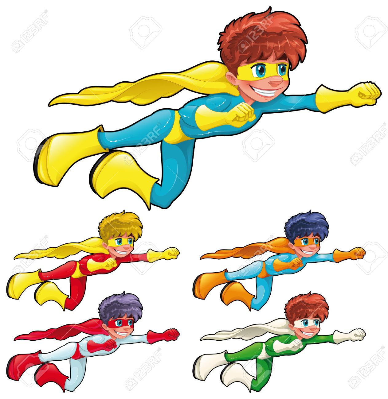 Young superheroes. Funny cartoon characters. Isolated objects Stock Vector - 9057637