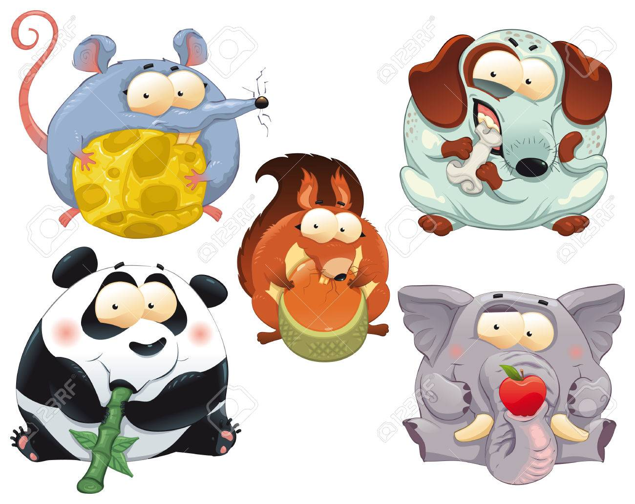 group of funny animals with food cartoon characters royalty free