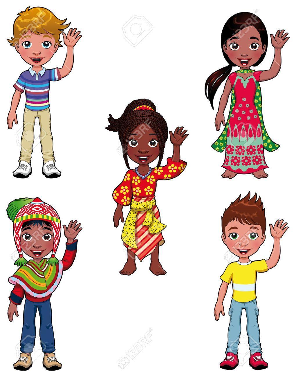 Niños en el mundo. Personajes de dibujos animados.  Foto de archivo - 9548470