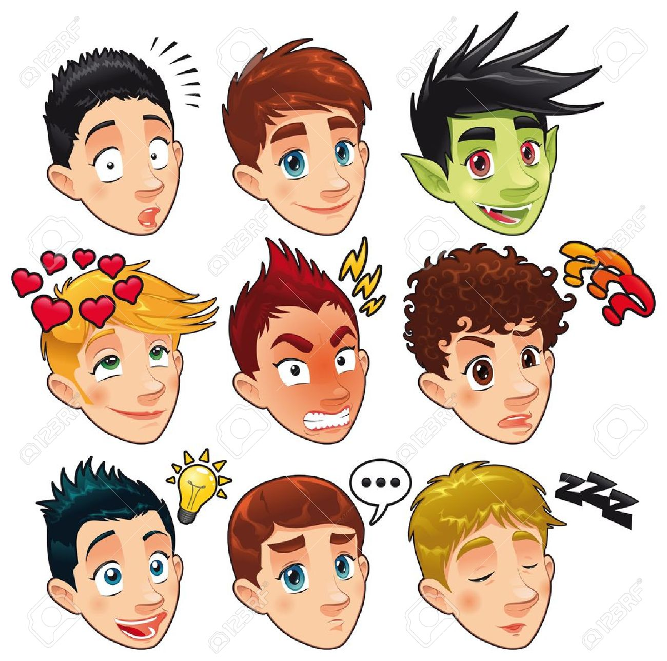 Funny Cartoon Images Of Boys various expressions of boys. funny cartoon and vector isolated..