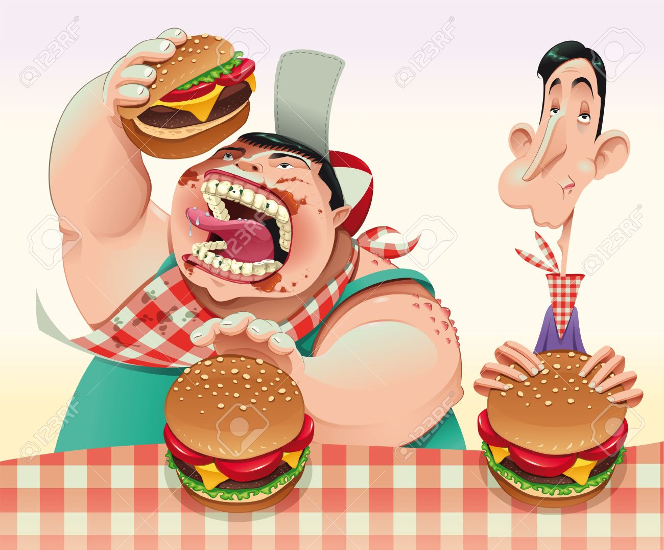 Guys with hamburgers. Cartoon and vector illustration. Stock Vector - 10763055