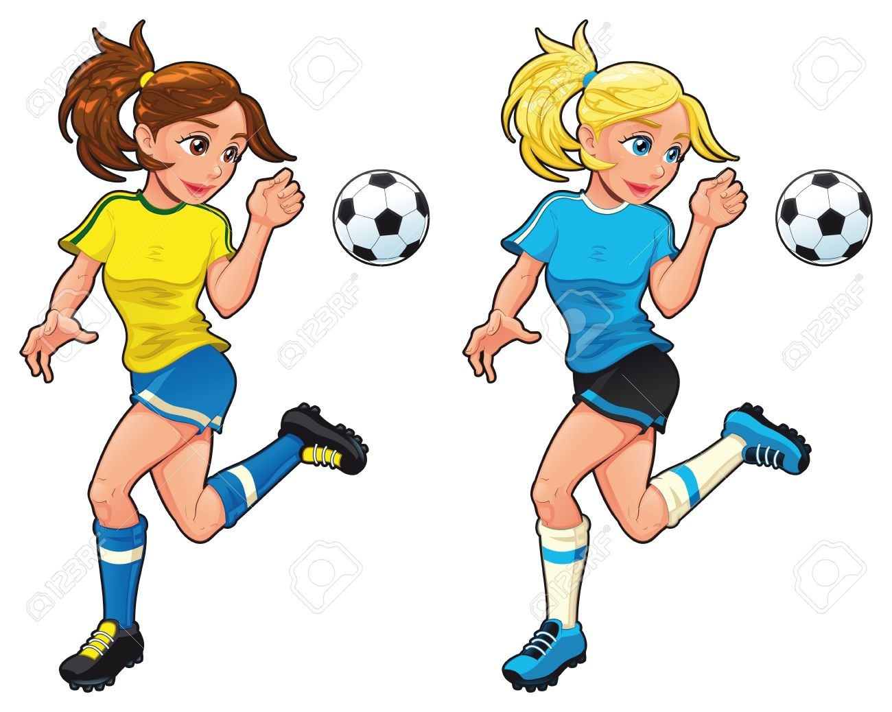 Soccer female players. Vector cartoon and isolated sport characters. Stock Vector - 10998109