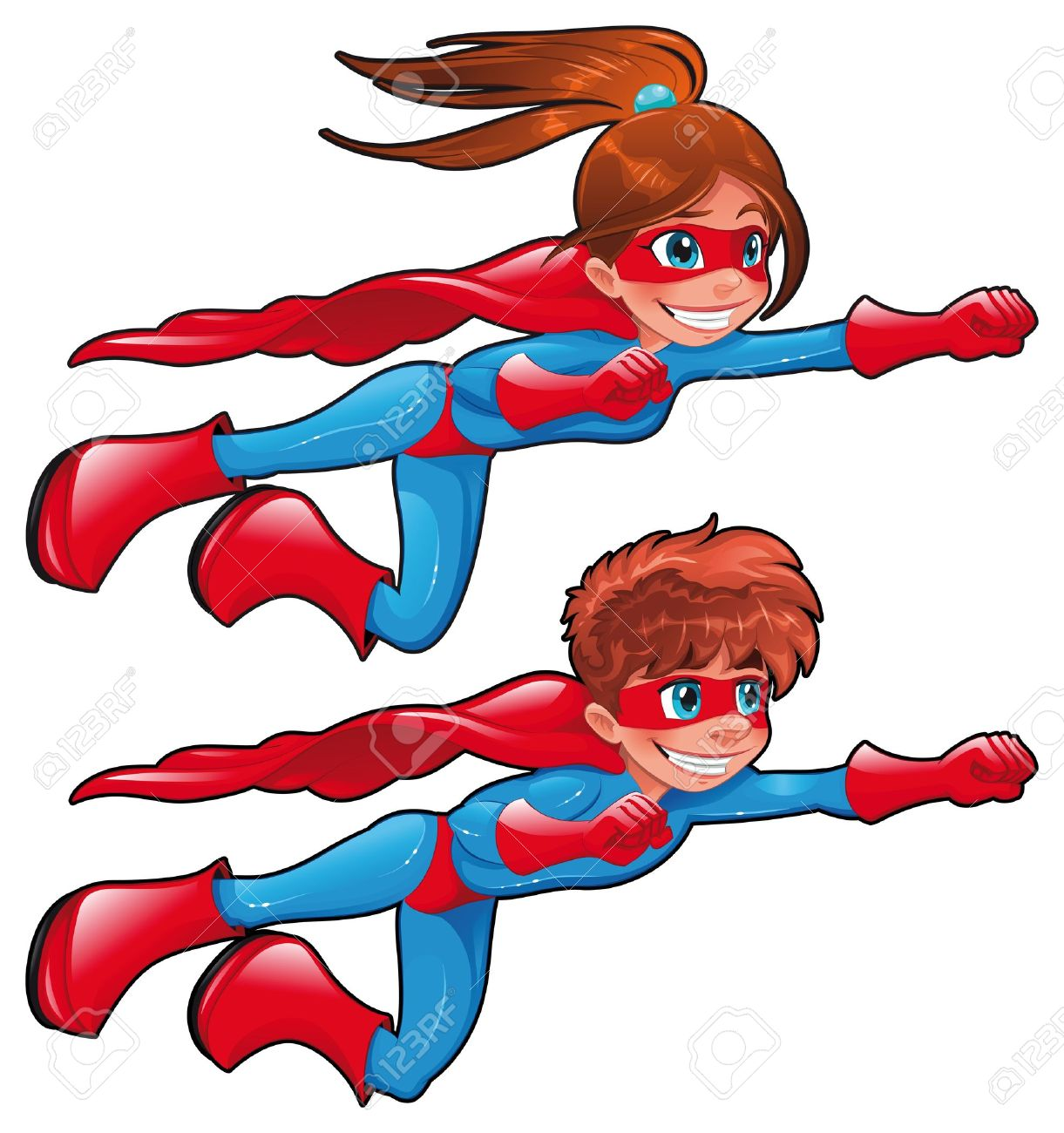 Young Superheroes. Funny Cartoon And Vector Characters. Isolated ...