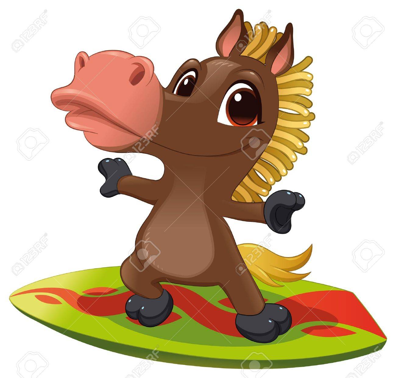 Horse with surf. Funny cartoon and vector sporty isolated character Stock Vector - 11582798