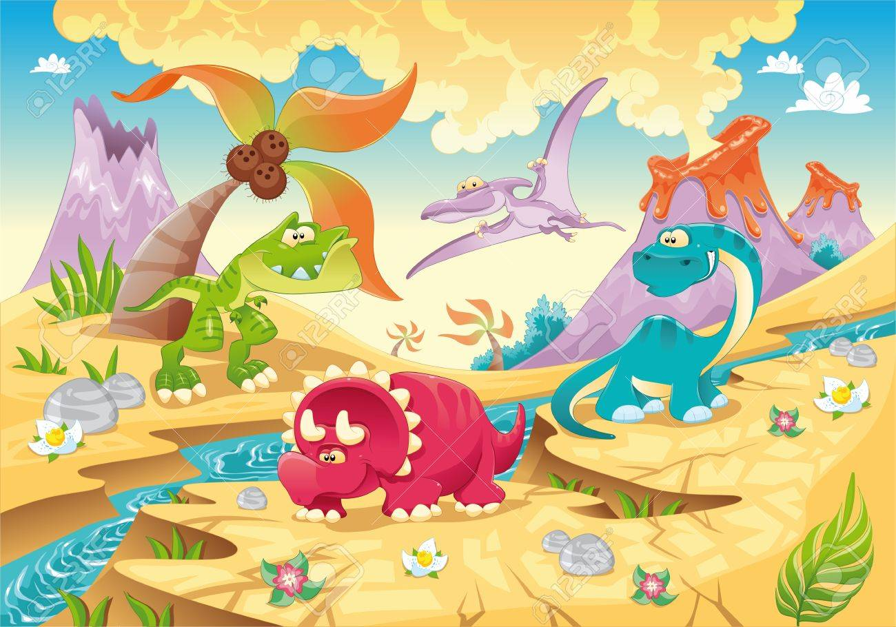 Dinosaurs Family with background. Funny cartoon and vector illustration Stock Vector - 11665574