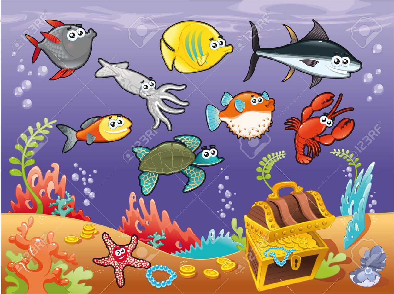 Family of funny fish under the sea. Vector illustration. Stock Vector - 11827802