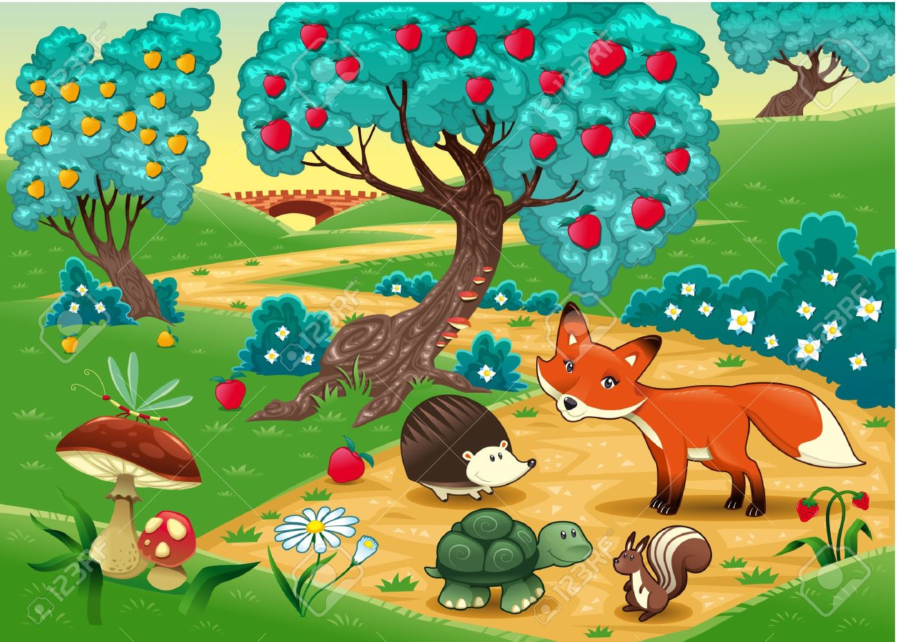 Animals in the wood. Funny cartoon and vector illustration Stock Vector - 11961245