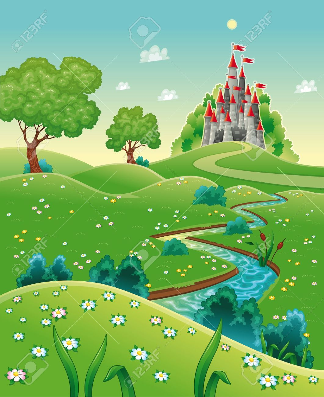 Panorama with castle. Cartoon and vector illustration. Stock Vector - 12646371