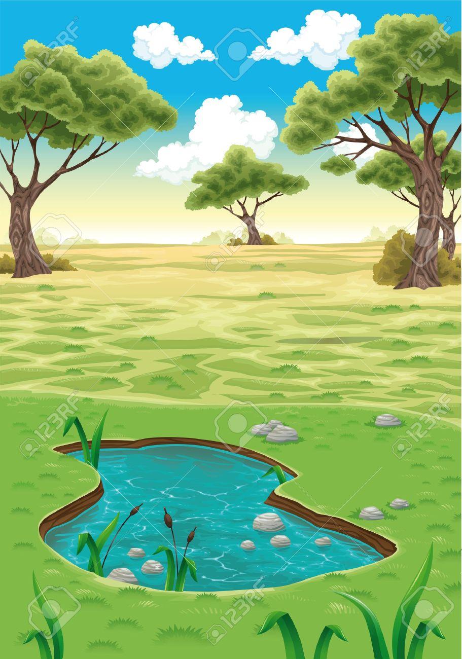 Natural landscape  Vector realistic illustration Stock Vector - 12865827
