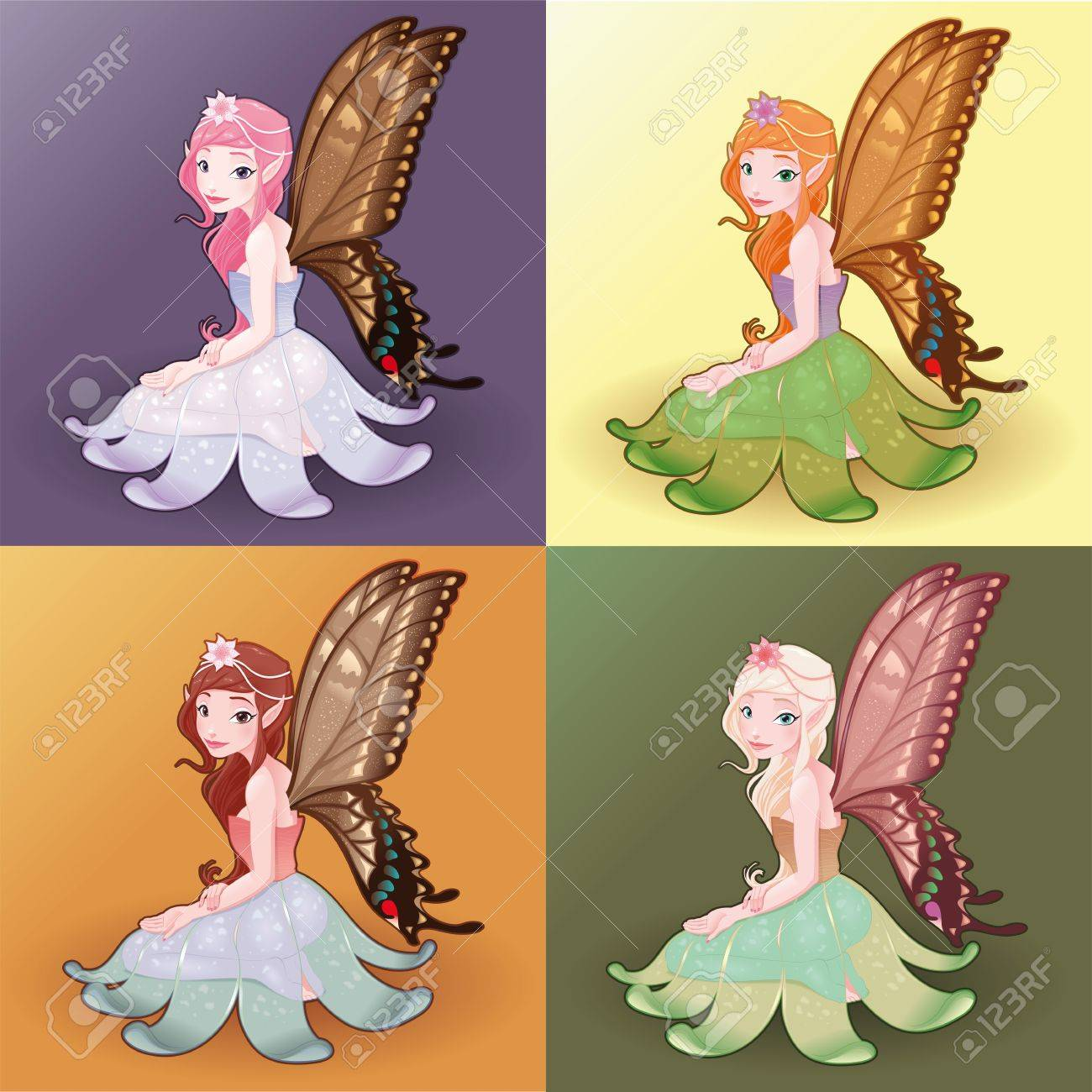 Young fairies. Funny cartoon and illustration. Stock Vector - 12978039
