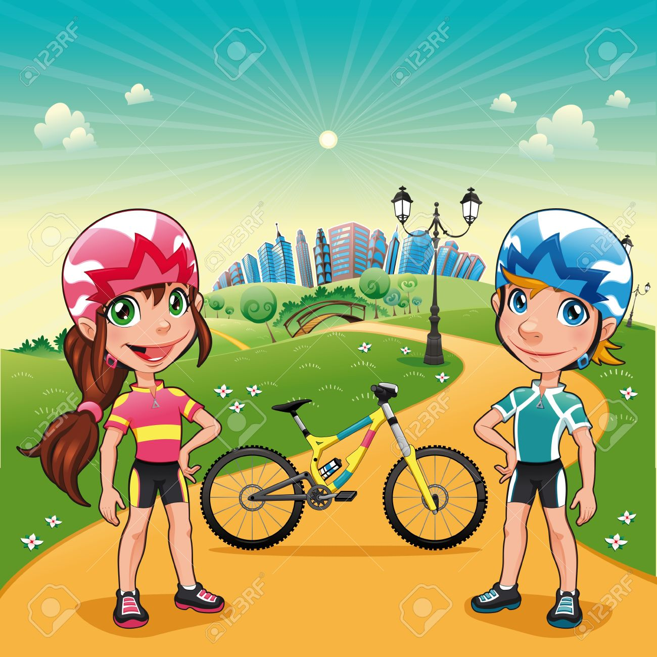 Park with young bikers. Funny cartoon and vector scene. Stock Vector - 13241559