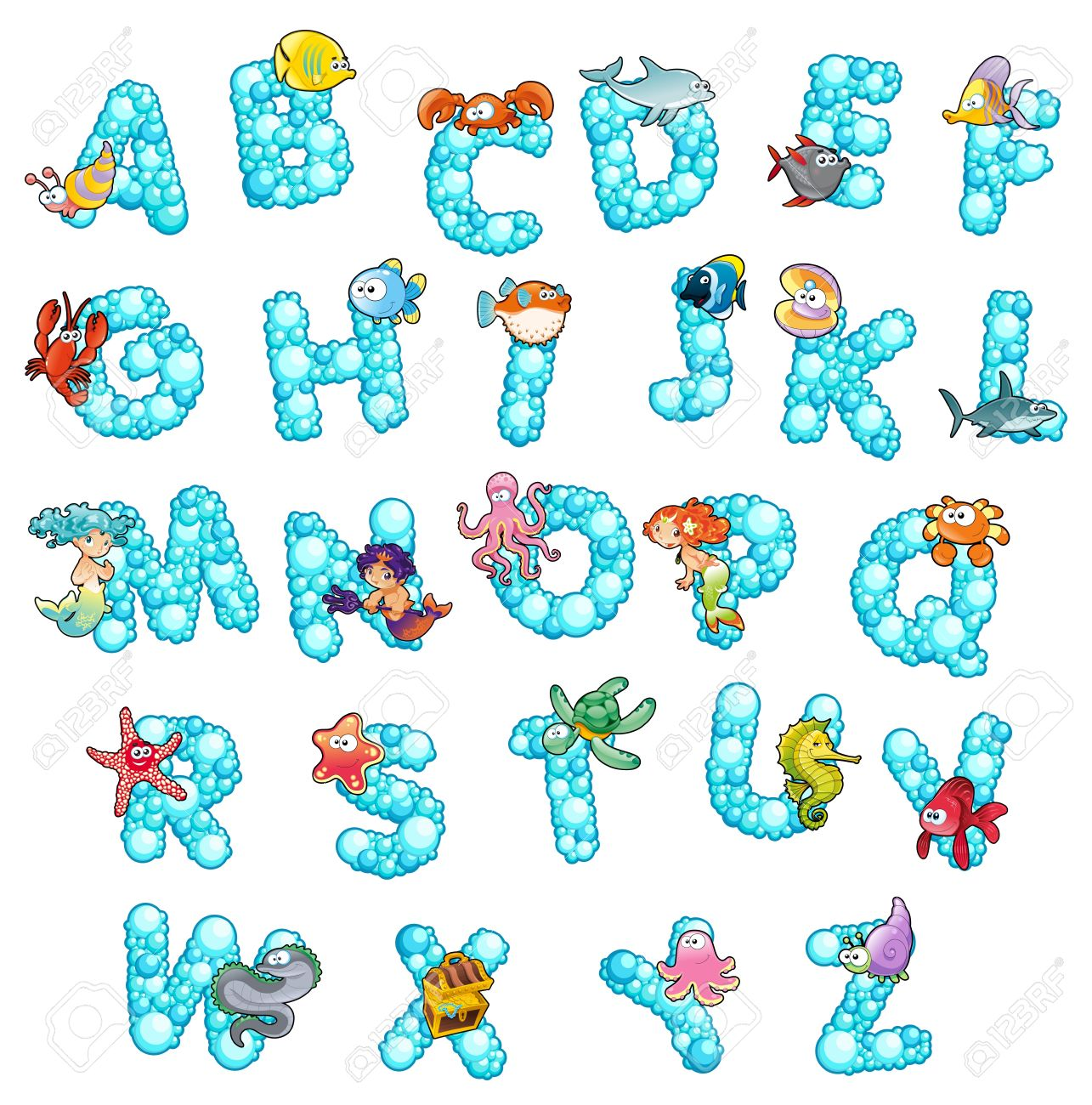 alphabet with fish and bubbles funny cartoon and isolated letters stock vector 14100073