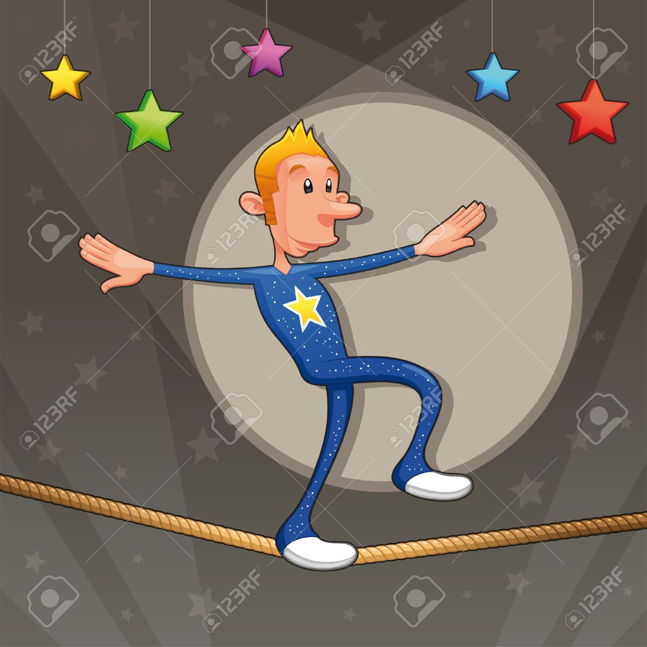 Funny equilibrist is walking on the tightrope. Cartoon and vector illustration. Stock Vector - 14893934