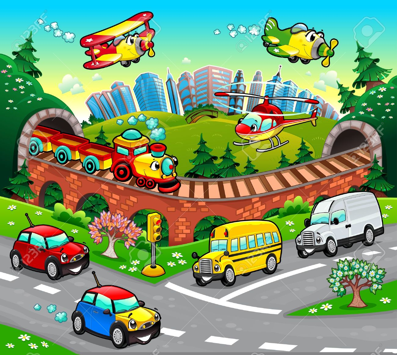 Funny vehicles in the city. Cartoon and vector illustration. Stock Vector - 15216024