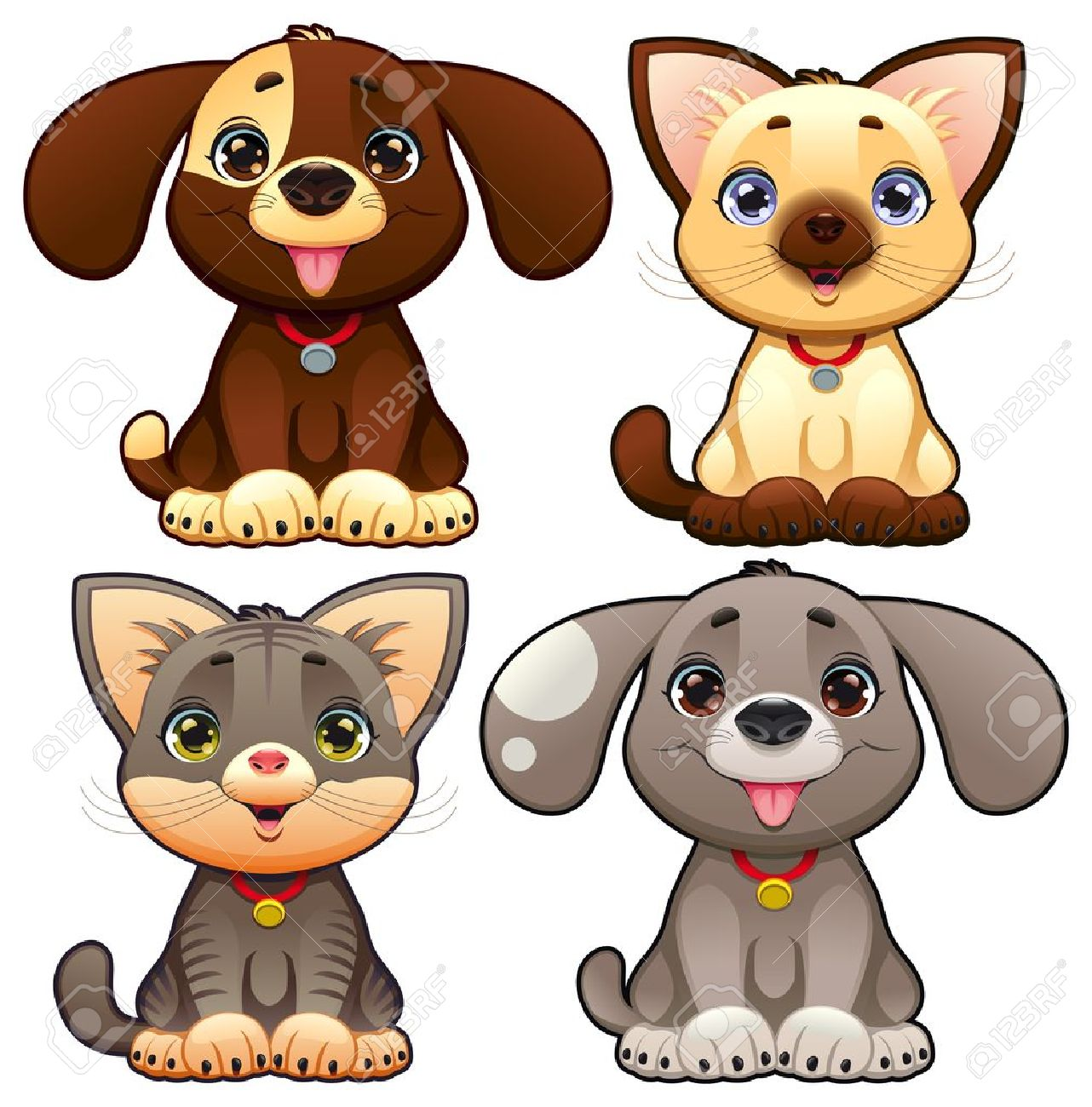 Cute dogs and cats. Funny cartoon and vector animal characters, isolated objects. Stock Vector - 15047344