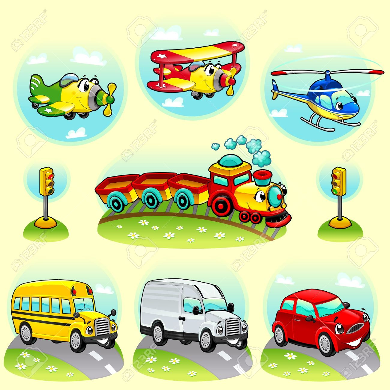 Funny vehicles with background. Stock Vector - 15284176