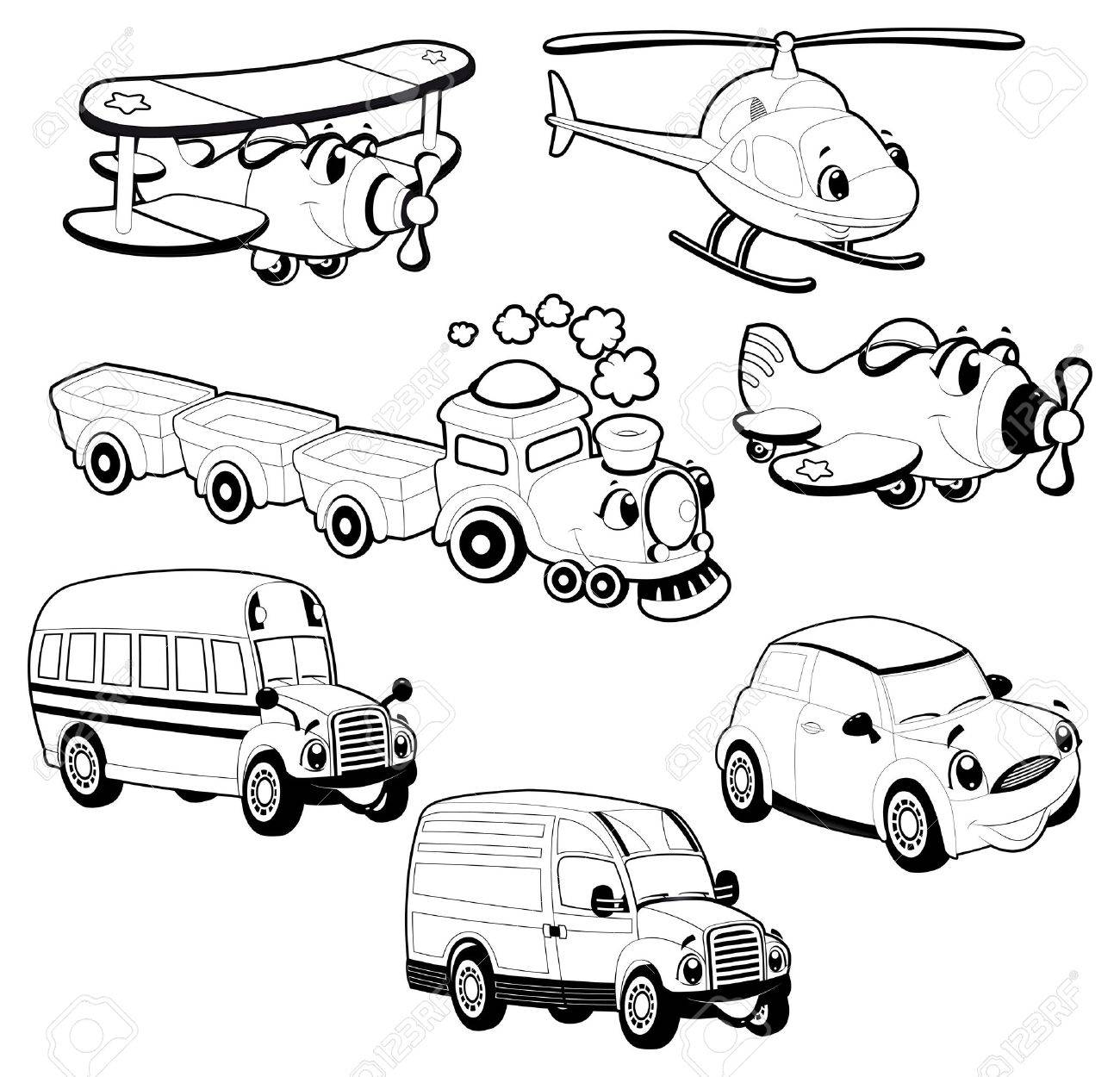 Funny vehicles in outline. Stock Vector - 15284175