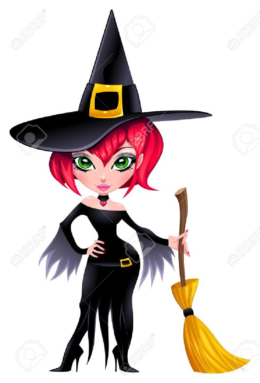 Funny witch. Stock Vector - 15284177