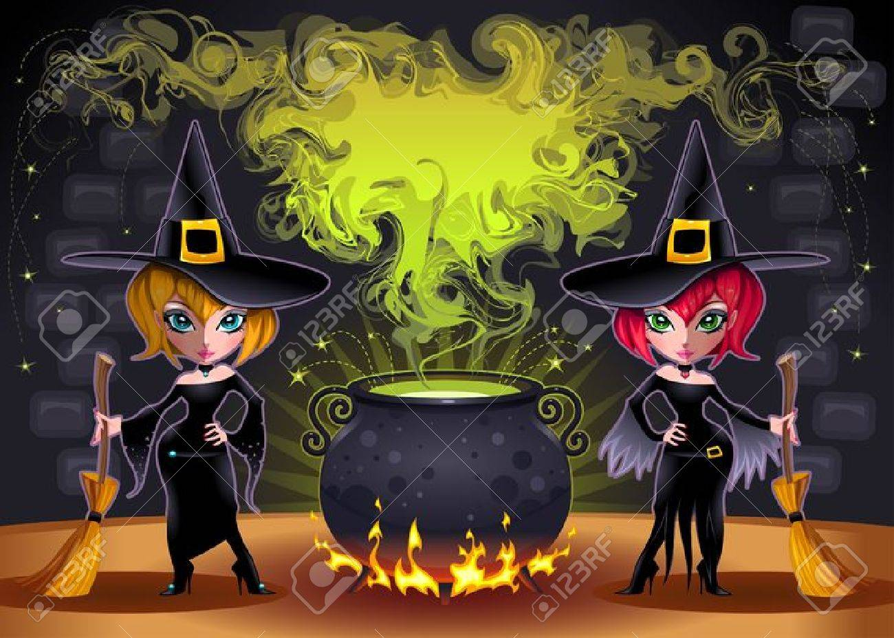 Funny witches with pot. Stock Vector - 15284179