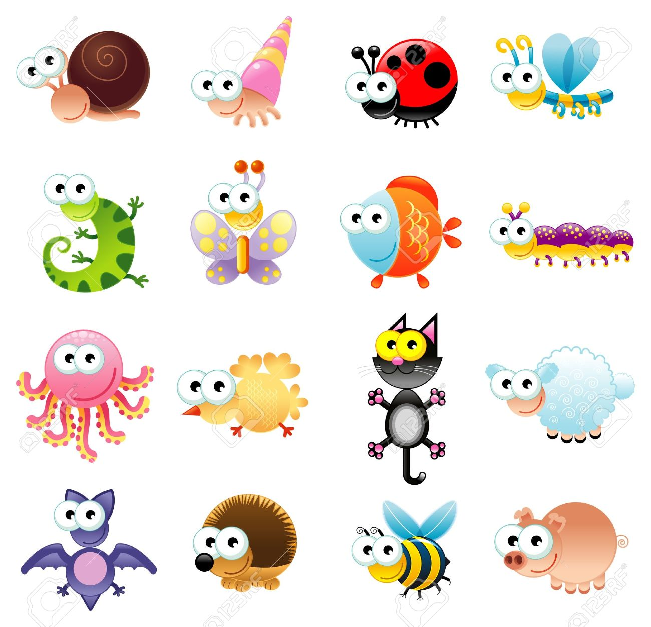 Family of funny animals. Cartoon and  isolated objects. Stock Vector - 15373887