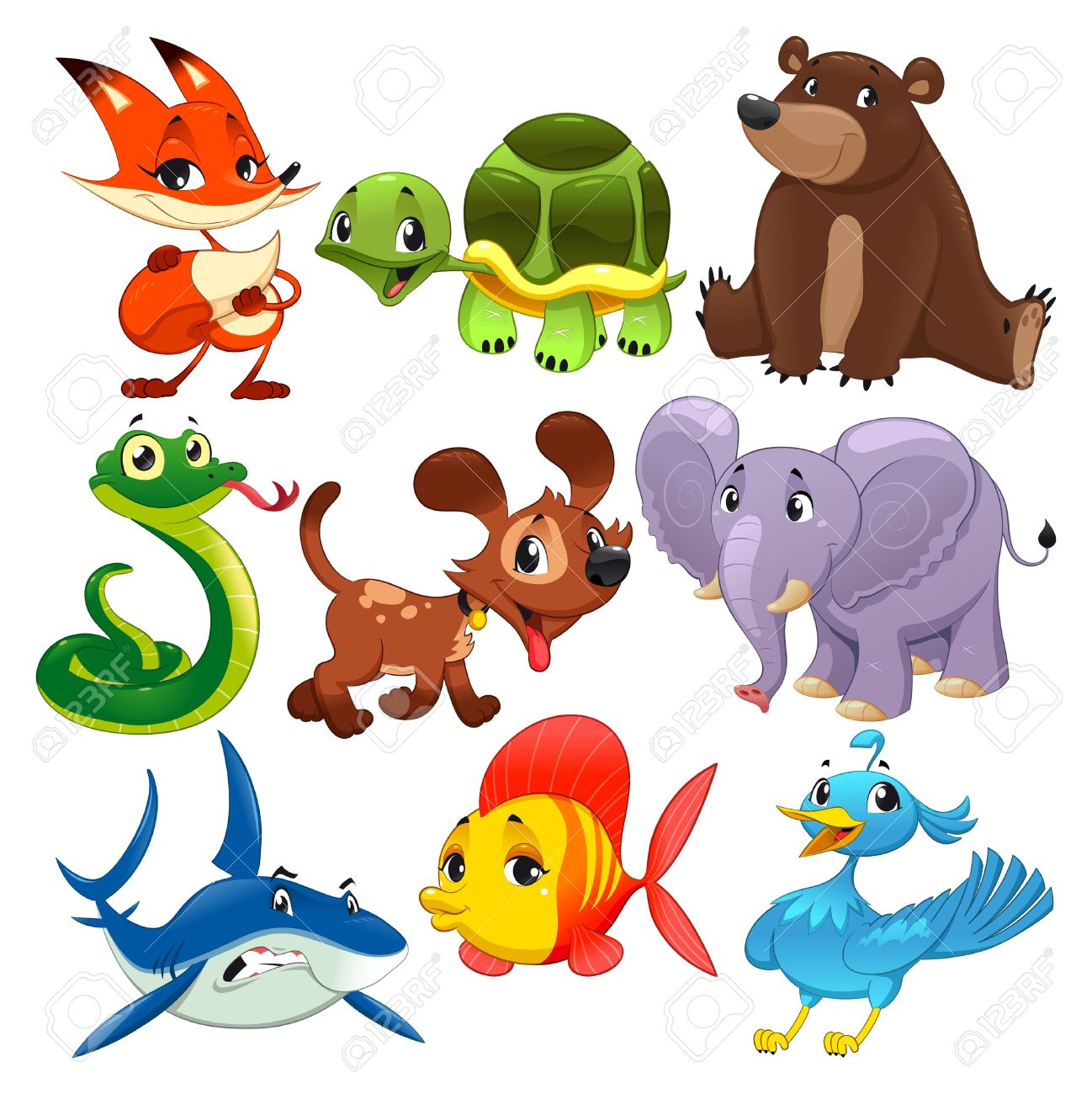 set of animals cartoon and isolated characters royalty free