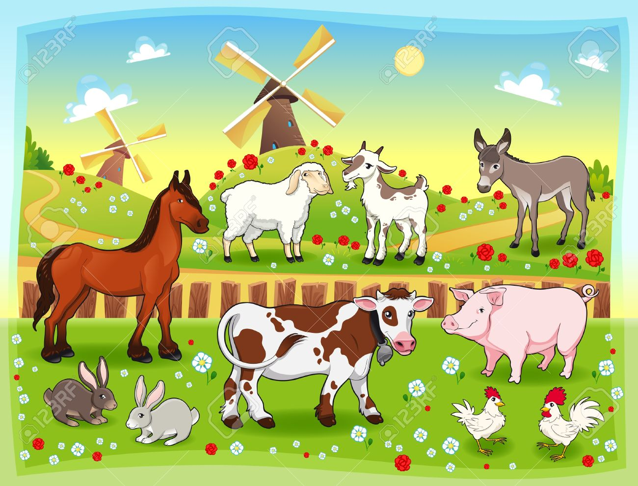 Farm animals with background Stock Vector - 15427621