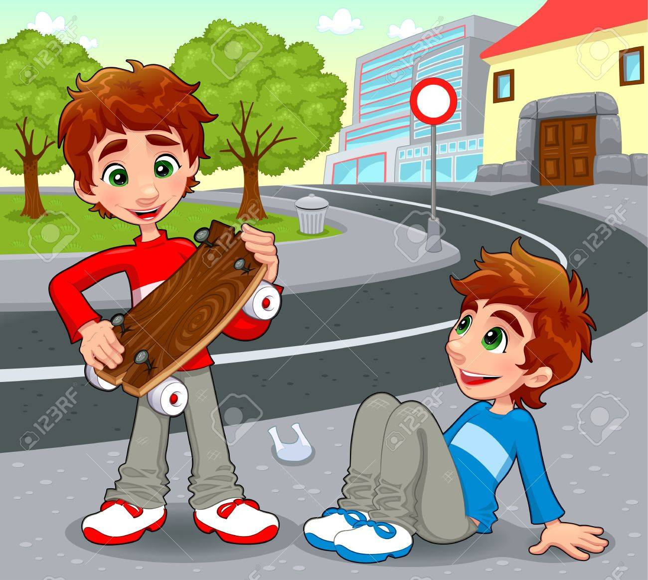 Twins with an homemade skateboard. Stock Vector - 15829803